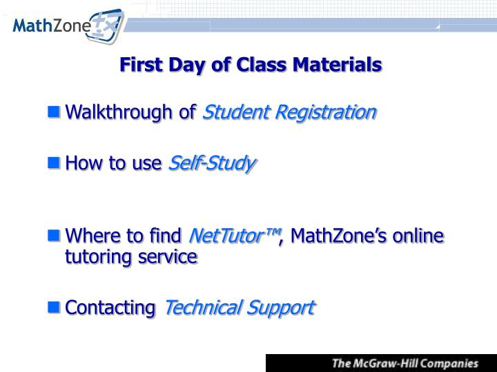 First day of class materials