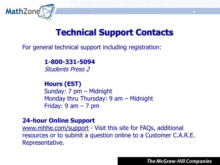 Technical Support Contacts