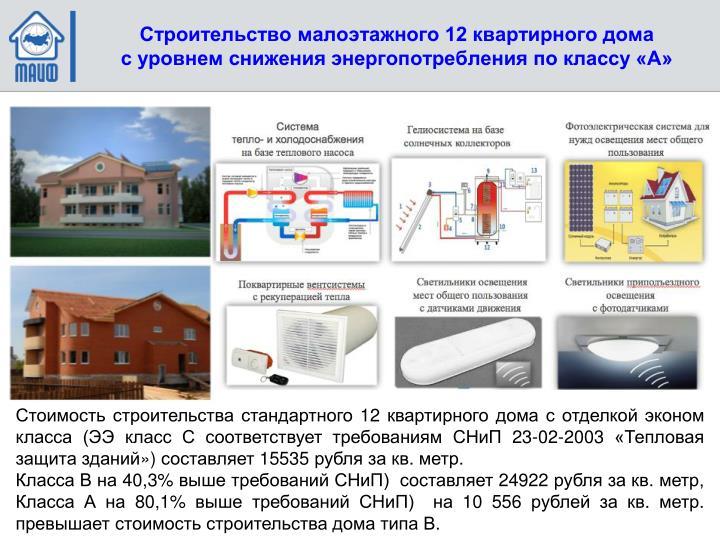 Строительство малоэтажного 12 квартирного дома