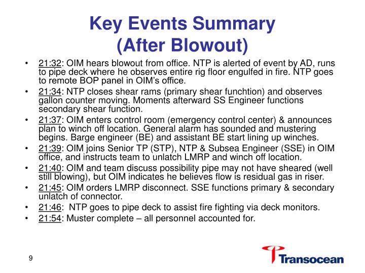 Key Events Summary