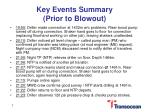 key events summary prior to blowout