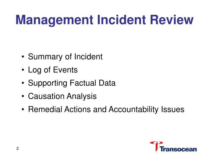 Management Incident Review