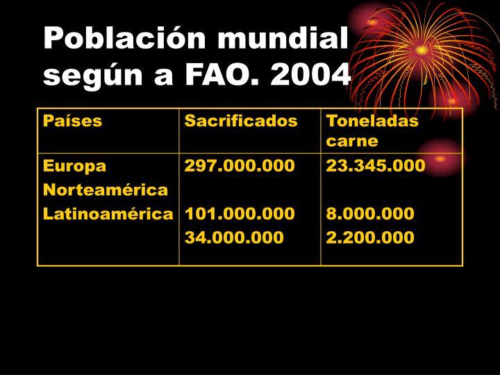 Población mundial según a FAO. 2004