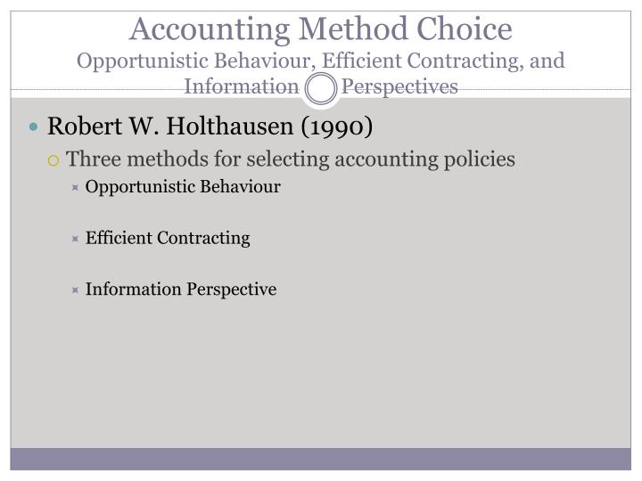 normative accounting theory vs positive accounting theory A normative accounting theory seeks to prescribe some basis of accounting measurement, particular accounting procedures, and the contents of financial reports (ijiri 1975 w & z 1986) 4 ijiri views normative theories as a special case of deductive theories.