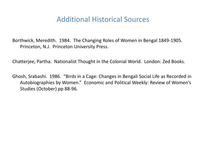 Additional Historical Sources