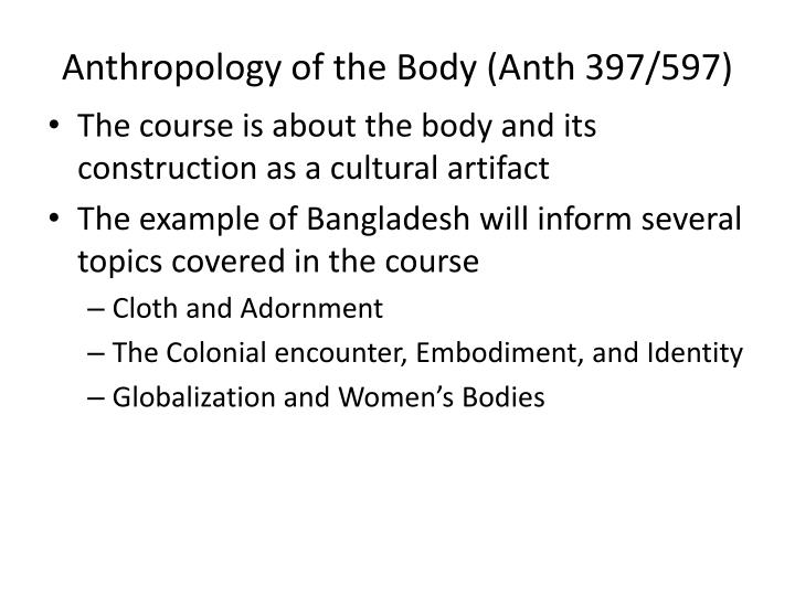 Anthropology of the body anth 397 597