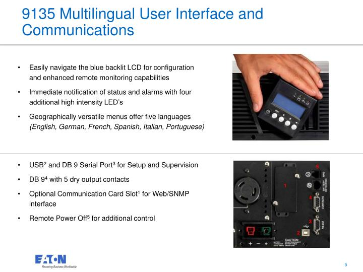 9135 Multilingual User Interface and Communications