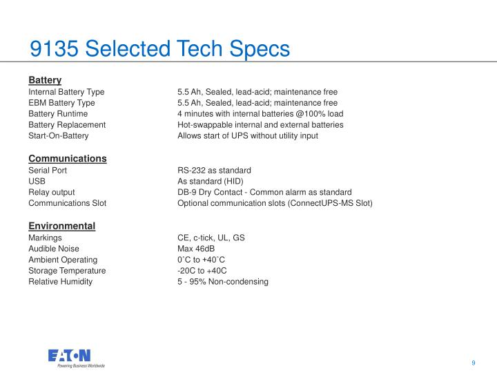 9135 Selected Tech Specs