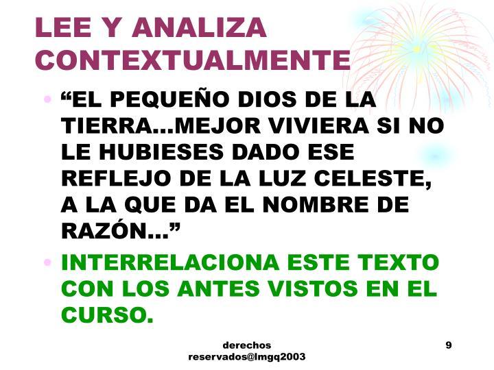 LEE Y ANALIZA CONTEXTUALMENTE