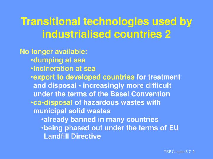 Transitional technologies used by industrialised countries 2
