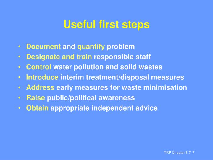 Useful first steps