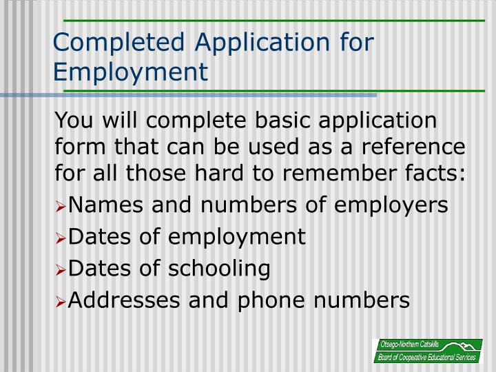 Completed Application for Employment