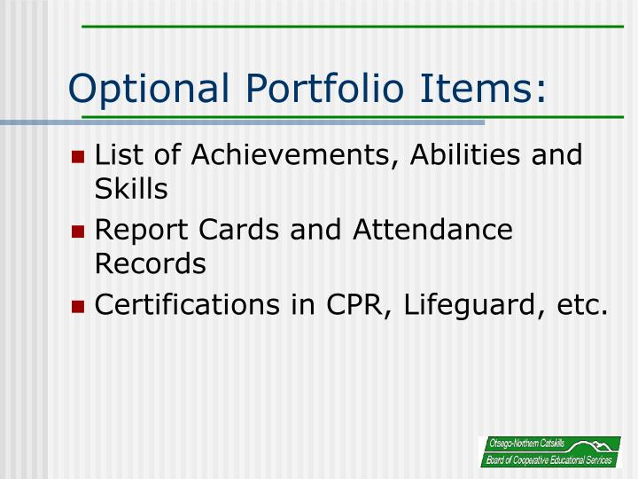 Optional Portfolio Items: