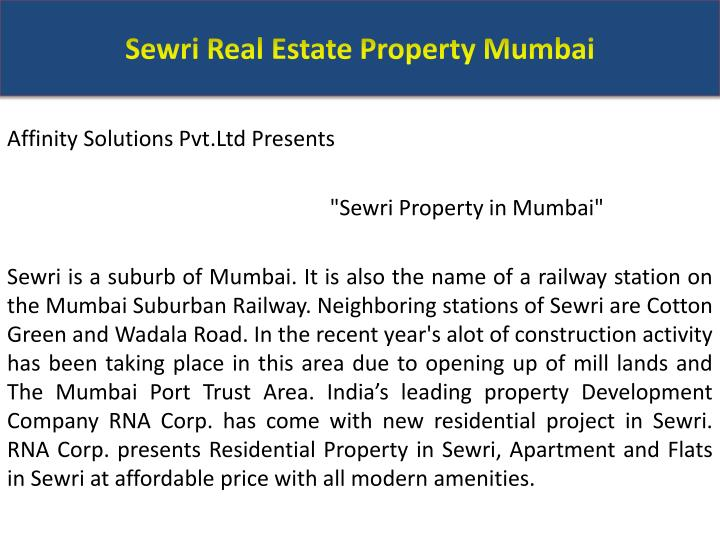 Sewri real estate property mumbai