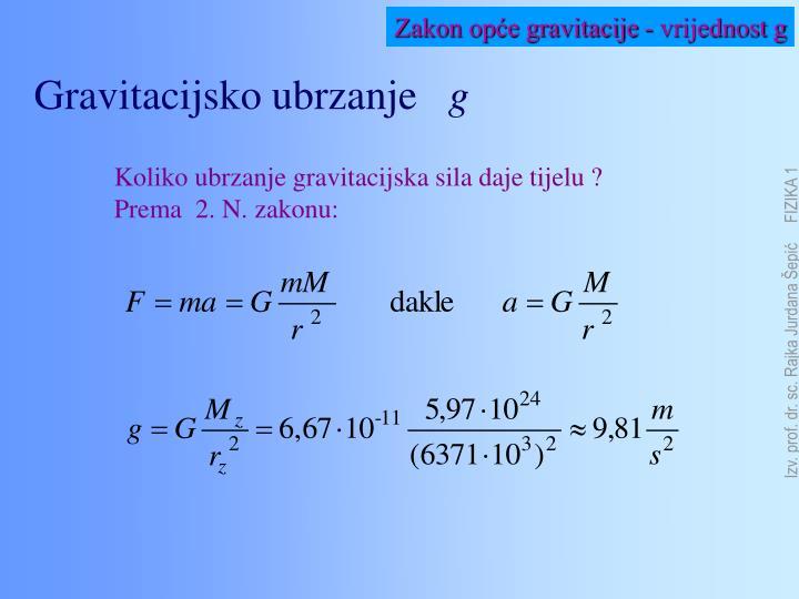 Zakon opće gravitacije - vrijednost g