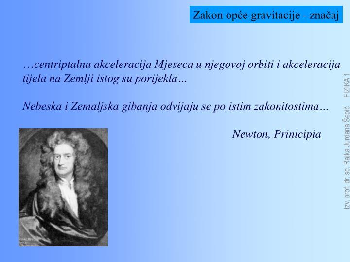 Zakon opće gravitacije - značaj