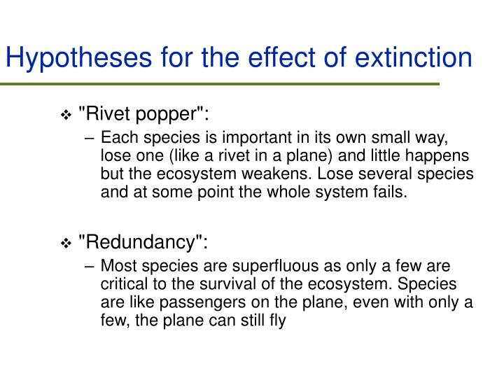 Hypotheses for the effect of extinction