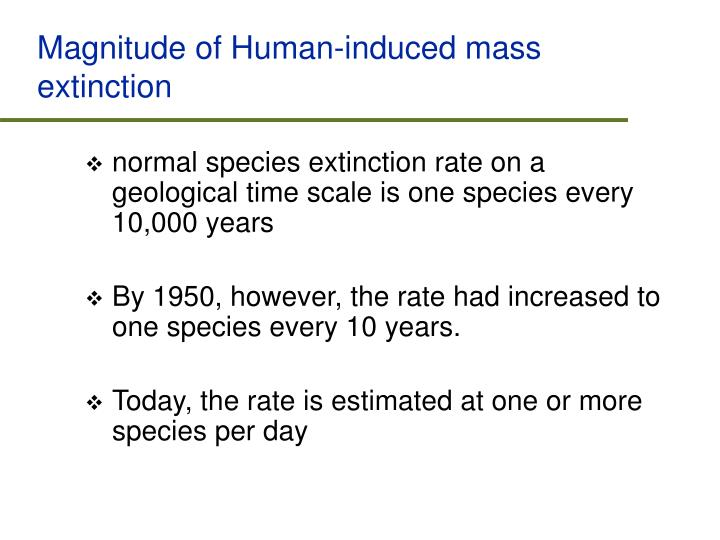 Magnitude of Human-induced mass extinction