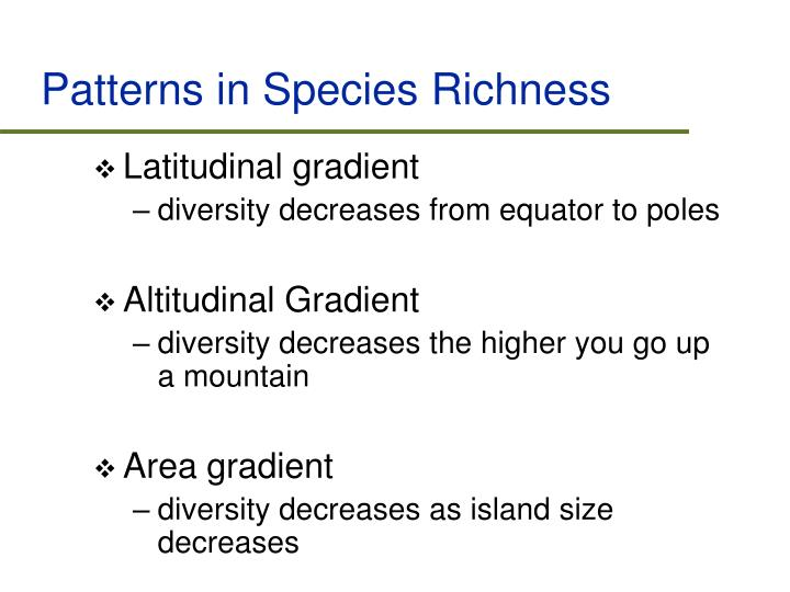 Patterns in Species Richness