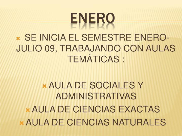 SE INICIA EL SEMESTRE ENERO-JULIO 09, TRABAJANDO CON AULAS TEMÁTICAS :
