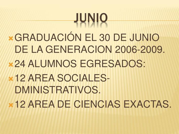 GRADUACIÓN EL 30 DE JUNIO  DE LA GENERACION 2006-2009.