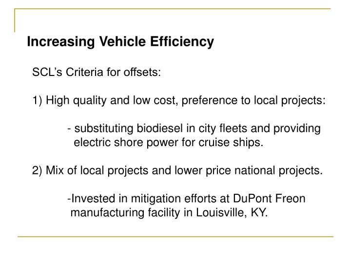 Increasing Vehicle Efficiency