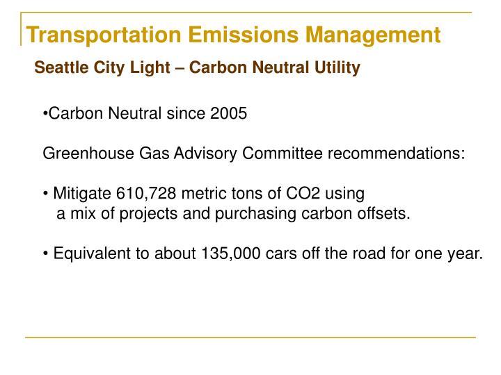 Transportation Emissions Management