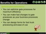 benefits for operations