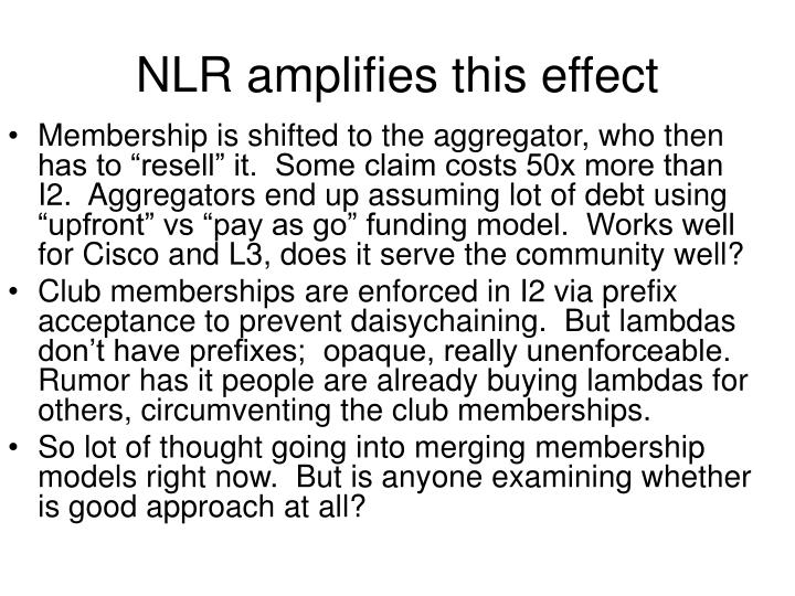 NLR amplifies this effect