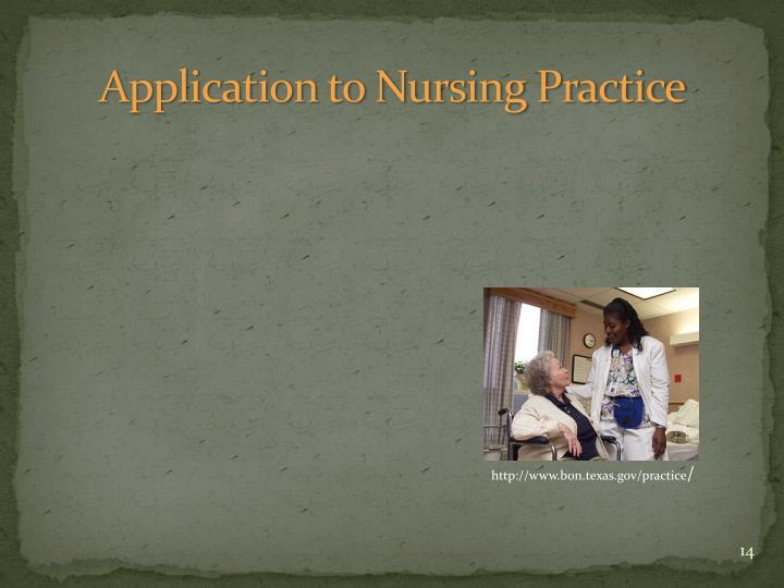 Application to Nursing Practice