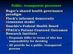public transparent processes