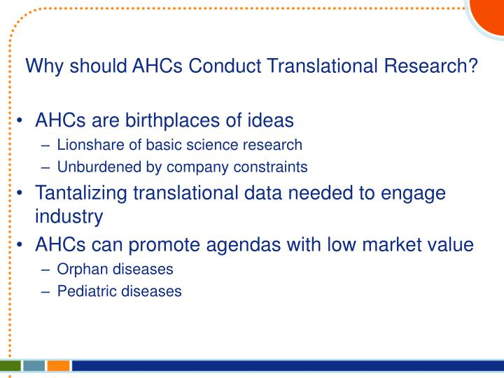 AHCs are birthplaces of ideas