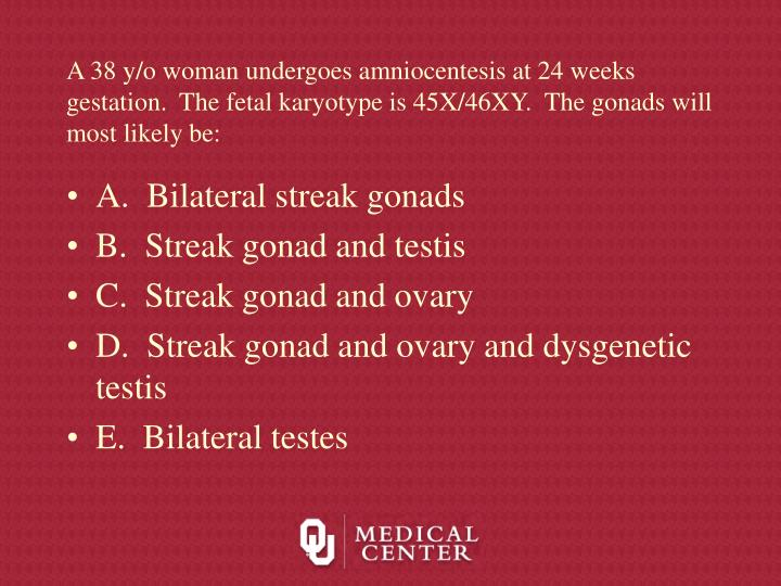 A 38 y/o woman undergoes amniocentesis at 24 weeks gestation.  The fetal karyotype is 45X/46XY.  The gonads will most likely be:
