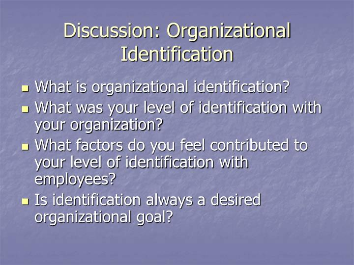 Discussion: Organizational Identification