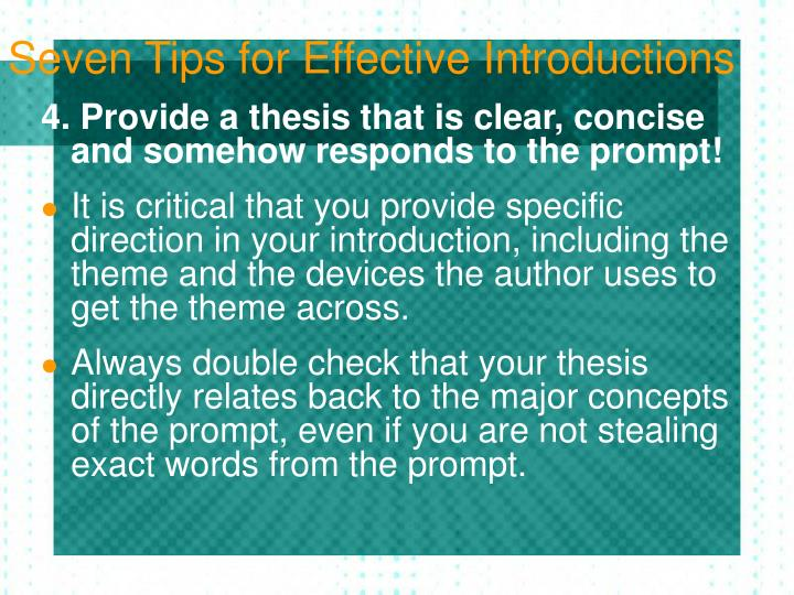 effective thesis introduction English composition 1 introductions the thesis statement usually is most effective as just one sentence at the end of the introduction.