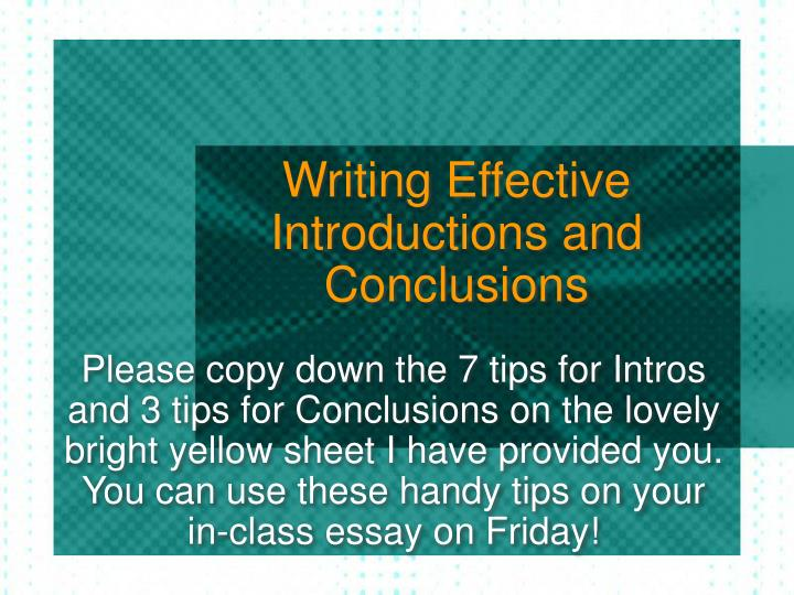 introduction and conclusion essay Learn how to write a strong introduction and conclusion, including what information to include and what information to leave out of your essay.