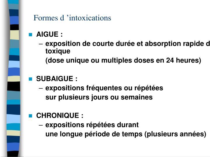 Formes d'intoxications
