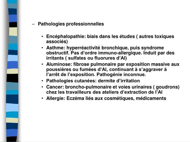 Pathologies professionnelles