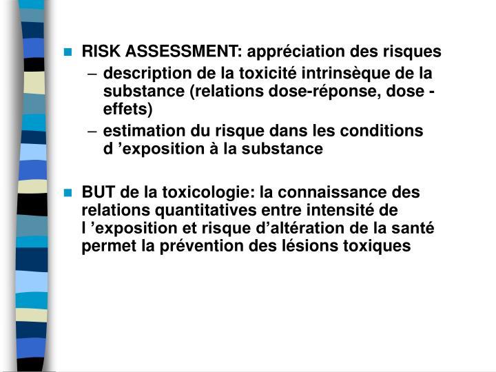 RISK ASSESSMENT: apprciation des risques