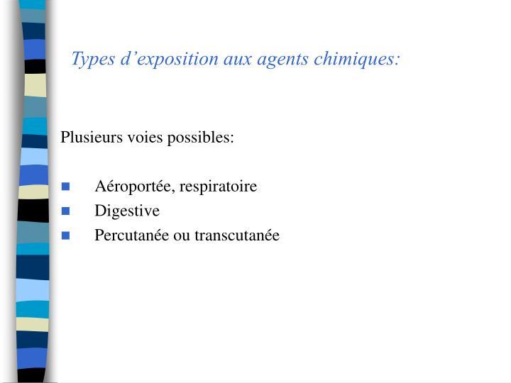 Types dexposition aux agents chimiques: