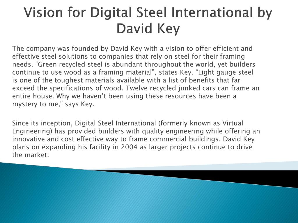 Vision for Digital Steel International by David Key