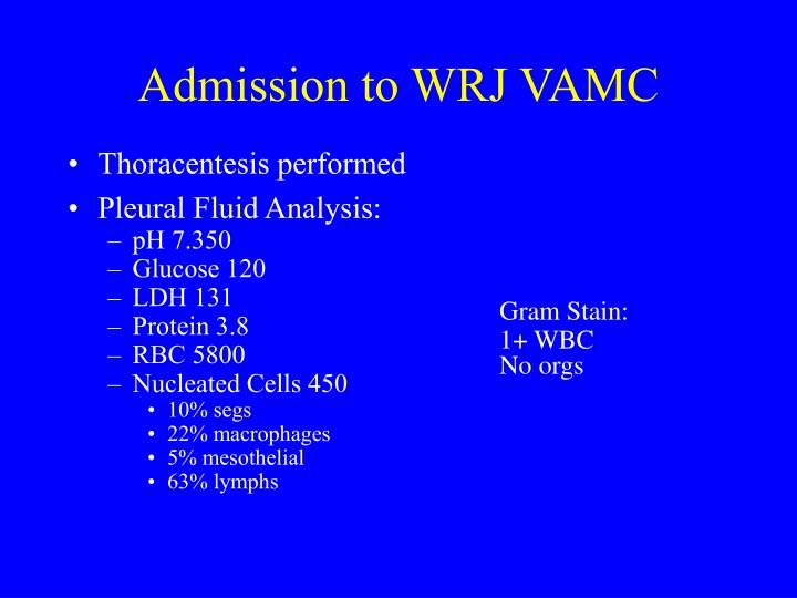 Admission to WRJ VAMC