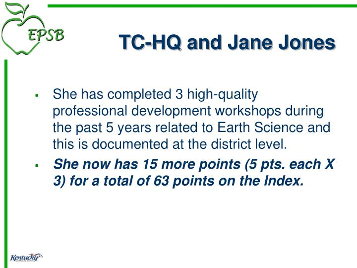 TC-HQ and Jane Jones