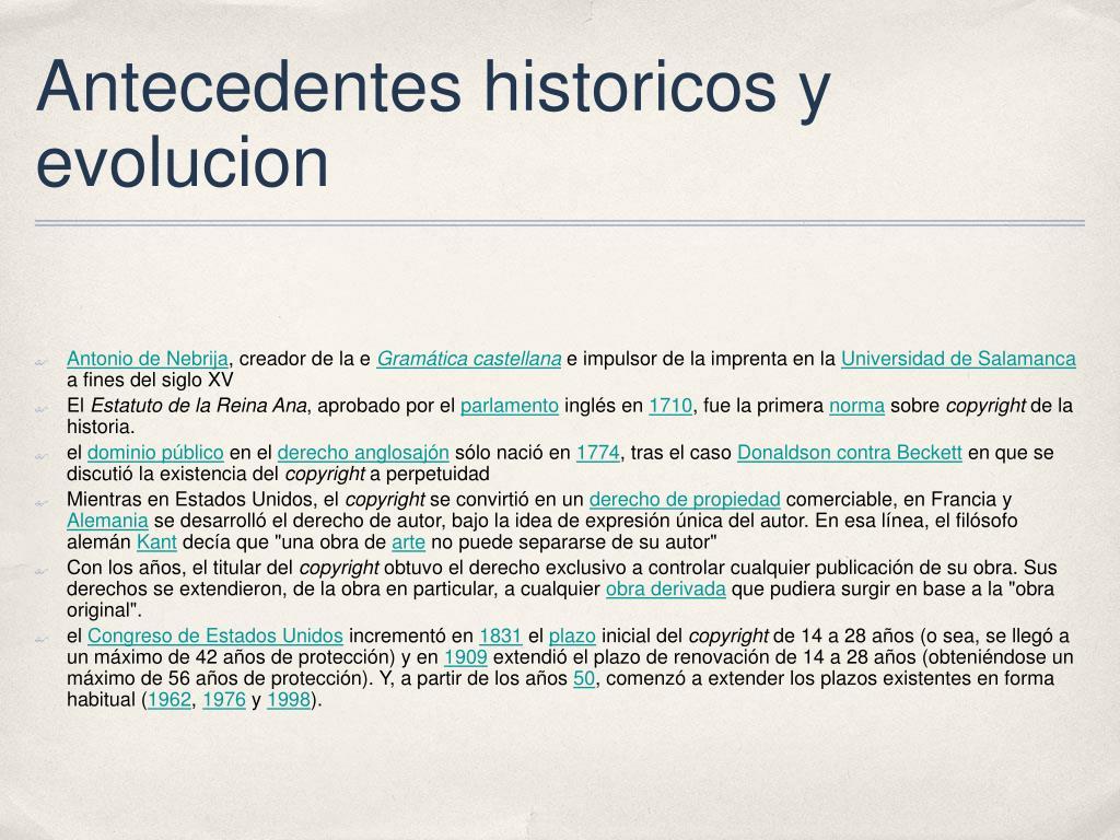 Antecedentes historicos y evolucion