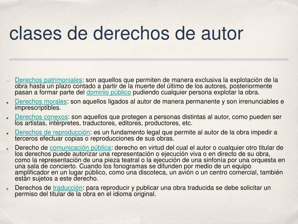 clases de derechos de autor