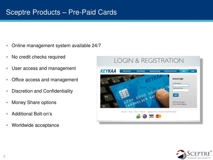 Sceptre Products – Pre-Paid Cards