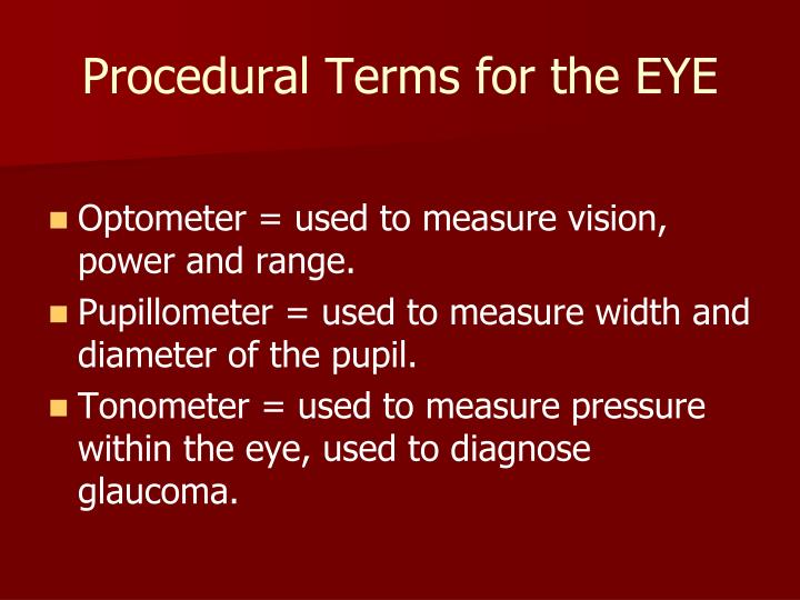 Procedural Terms for the EYE