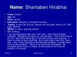 name shantaben hirabhai