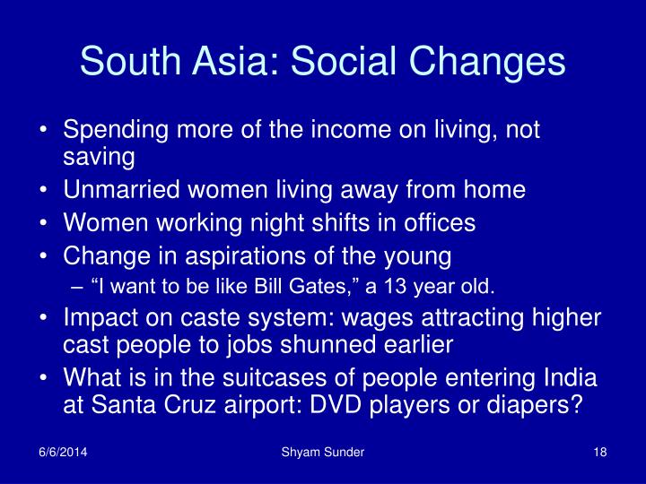 South Asia: Social Changes
