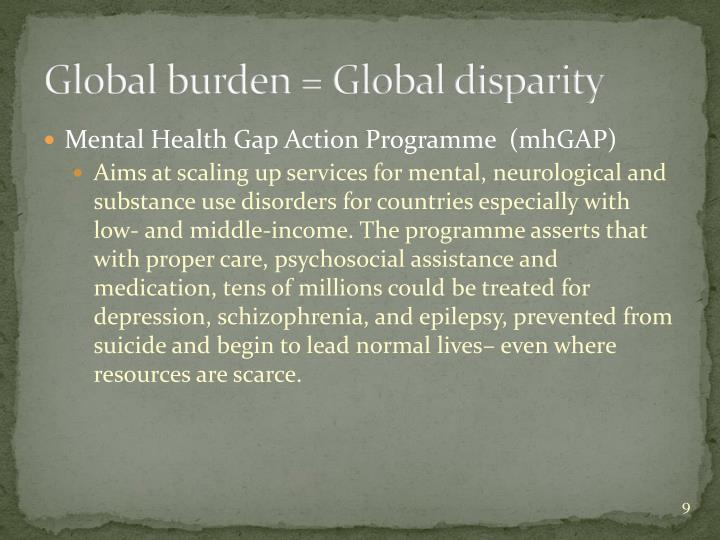 Global burden = Global disparity
